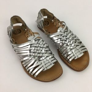 Tory Burch Anya Huarache Silver Woven Sandals